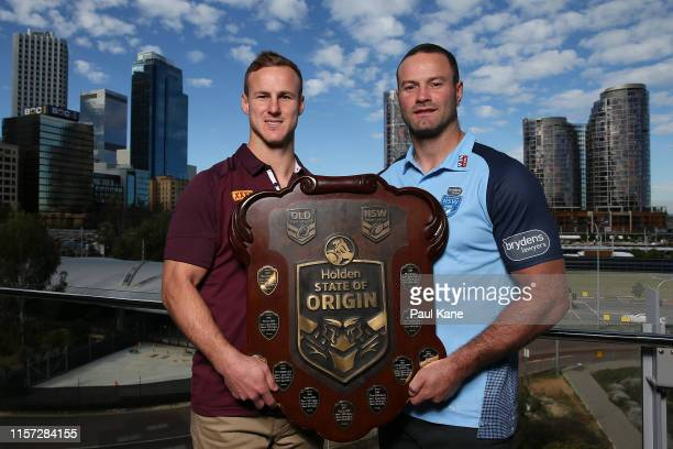 Daly Cherry-Evans of Queensland and Boyd Cordner of New South Wales pose with the State of Origin trophy during a State of Origin captain's media...