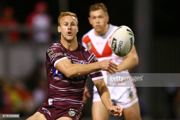 Daly CherryEvans of the Eagles passes during the round 15 NRL match between the St George Illawarra Dragons and the Manly Sea Eagles at WIN Stadium...