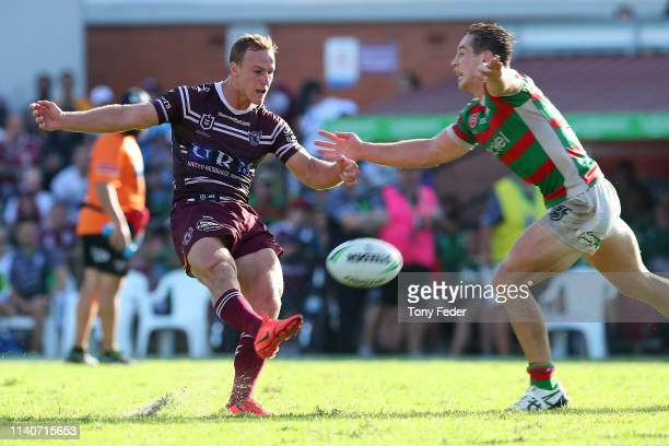Daly CherryEvans of the Manly Sea Eagles kicks a goal in golden point to win the game during the round four NRL match between the Manly Sea Eagles...