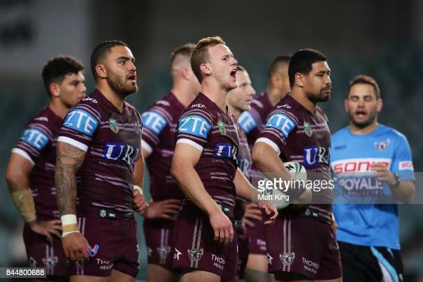 Daly CherryEvans of the Sea Eagles and team mates look dejected after the try to Tyrone Peachey of the Panthers during the NRL Elimination Final...