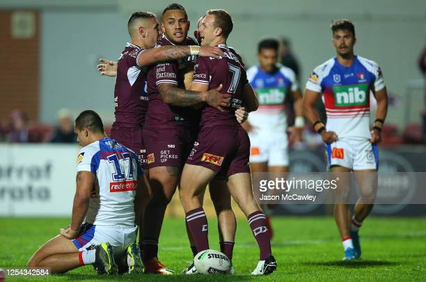 Daly Cherry-Evans of the Sea Eagles celebrates after scoring a try before it was disallowed during the round eight NRL match between the Manly Sea...