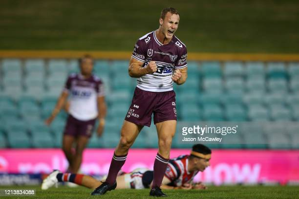 Daly Cherry-Evans of the Sea Eagles celebrates kicking the match winning field goal during the round 2 NRL match between the Sydney Roosters and the...