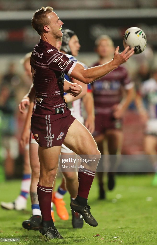 Daly Cherry-Evans of the Sea Eagles celebrates scoring a try that was subsequently disallowed during the Round eight NRL match between the Manly-Warringah Sea Eagles and the Newcastle Knights at Lottoland on April 27, 2018 in Sydney, Australia.