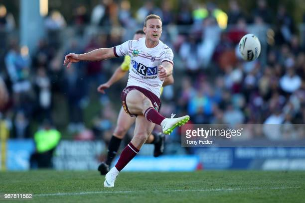 Daly CherryEvans of the Sea Eagles kicks the ball during the round 16 NRL match between the Penrith Panthers and the Manly Sea Eagles at Panthers...