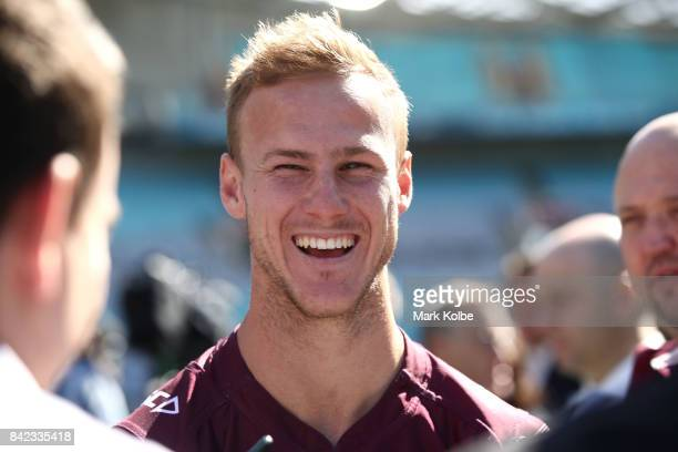 Daly CherryEvans of the Sea Eagles laughs as he speaks to the media during the 2017 NRL Finals Series Launch at ANZ Stadium on September 4 2017 in...