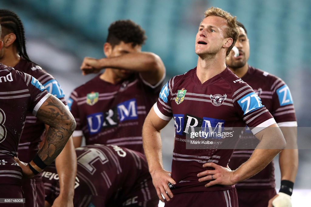 Daly Cherry-Evans of the Sea Eagles looks dejected after a Bulldogs during the round 24 NRL match between the Canterbury Bulldogs and the Manly Sea Eagles at ANZ Stadium on August 20, 2017 in Sydney, Australia.