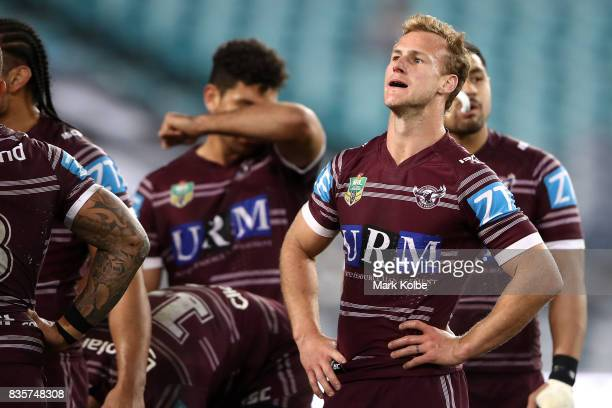 Daly CherryEvans of the Sea Eagles looks dejected after a Bulldogs during the round 24 NRL match between the Canterbury Bulldogs and the Manly Sea...
