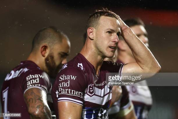 Daly Cherry-Evans of the Sea Eagles looks dejected after a Rabbitohs try during the round two NRL match between the Manly Sea Eagles and the South...