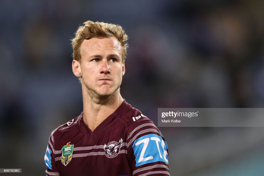 Daly Cherry-Evans of the Sea Eagles looks dejected after defeat during the round 24 NRL match between the Canterbury Bulldogs and the Manly Sea Eagles at ANZ Stadium on August 20, 2017 in Sydney, Australia.