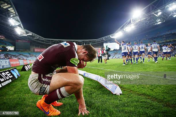 Daly CherryEvans of the Sea Eagles looks dejected after the final try to Corey Thompson of the Bulldogs during the round seven NRL match between the...