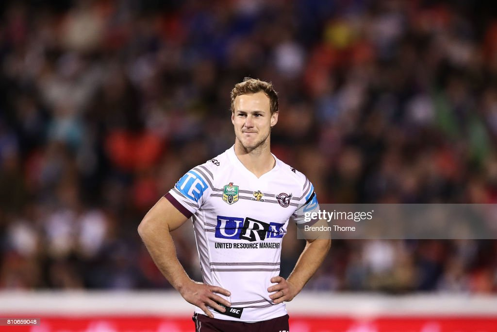 Daly Cherry-Evans of the Sea Eagles looks on during the round 18 NRL match between the Penrith Panthers and the Manly Sea Eagles at Pepper Stadium on July 8, 2017 in Sydney, Australia.