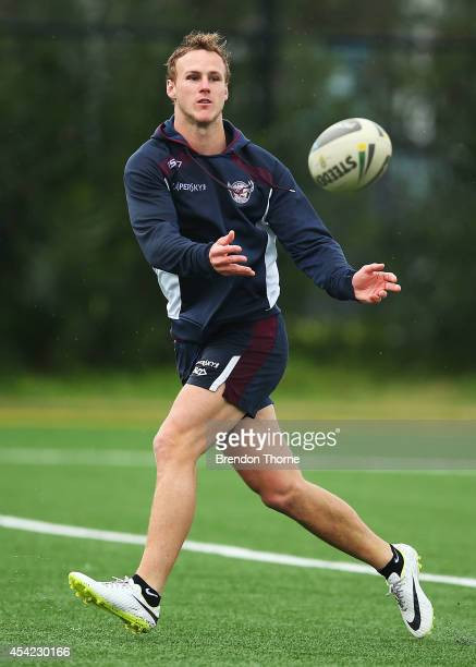 Daly CherryEvans of the Sea Eagles passes the ball during a Manly Sea Eagles NRL media announcement at the Sydney Academy of Sport on August 27 2014...