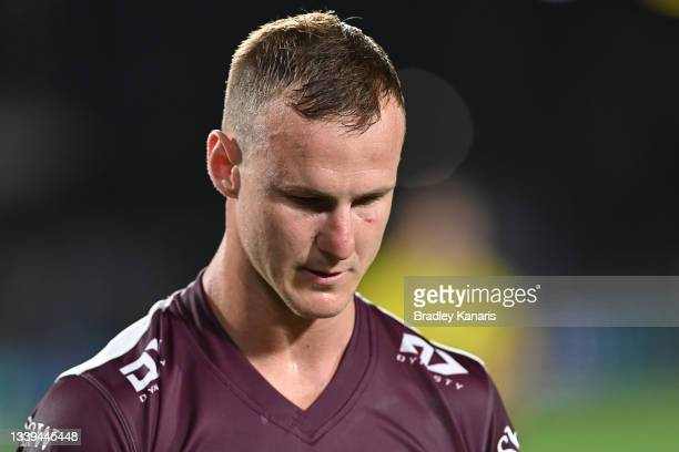 Daly Cherry-Evans of the Sea Eagles reacts at halftime during the NRL Qualifying Final between the Melbourne Storm and the Manly Warringah Sea Eagles...