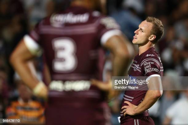 Daly CherryEvans of the Sea Eagles reacts during the round six NRL match between the Manly Sea Eagles and the Wests Tigers at Lottoland on April 15...