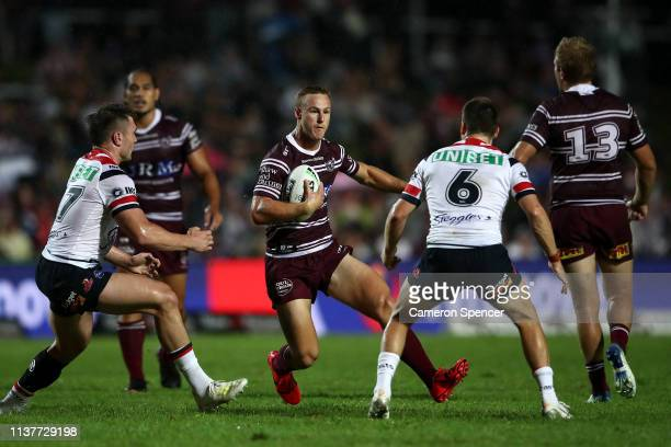 Daly CherryEvans of the Sea Eagles runs the ball during the round two NRL match between the Manly Sea Eagles and the Sydney Roosters at Lottoland on...