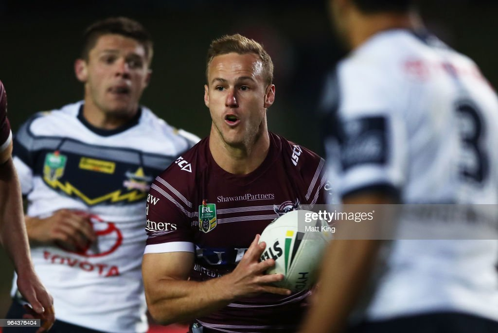 Daly Cherry-Evans of the Sea Eagles runs with the ball during the round 13 NRL match between the Manly Sea Eagles and the North Queensland Cowboys at Lottoland on May 31, 2018 in Sydney, Australia.