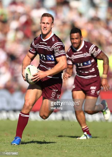Daly Cherry-Evans of the Sea Eagles runs with the ball during the round 7 NRL match between the Manly Warringah Sea Eagles and the Canberra Raiders...