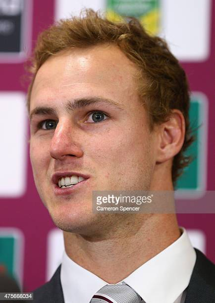 Daly CherryEvans of the Sea Eagles speaks at a Manly Sea Eagles NRL press conference at Sydney Academy of Sport on June 3 2015 in Sydney Australia...