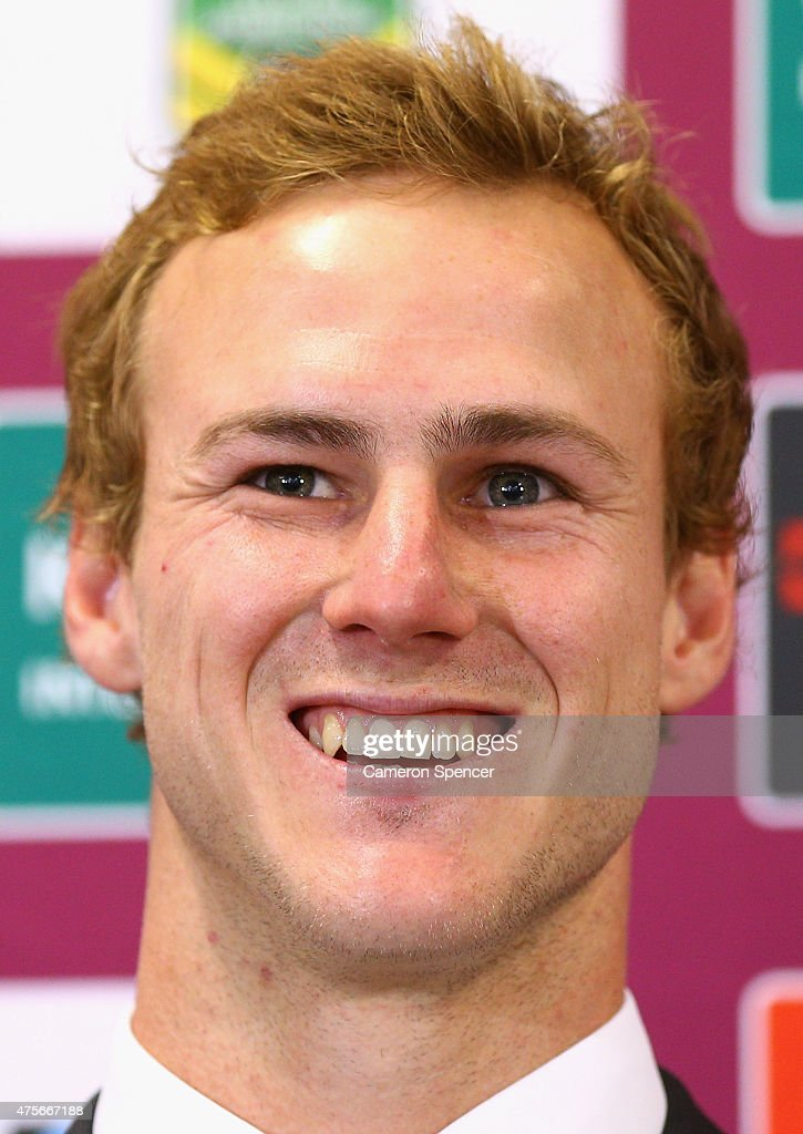 Daly Cherry-Evans of the Sea Eagles speaks at a Manly Sea Eagles NRL press conference at Sydney Academy of Sport on June 3, 2015 in Sydney, Australia. Cherry-Evans has signed a life-time NRL deal with the Manly Sea Eagles after reneging on a contract with the Gold Coast Titans.