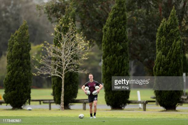 Daly Cherry-Evans of the Sea Eagles warms up during a Manly Sea Eagles NRL Media Opportunity and Training Session at Sydney Academy of Sport on...