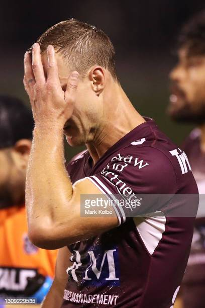 Daly Cherry-Evans of the Seas Eagles looks dejected after a Dragons try during the round three NRL match between the St George Illawarra Dragons and...