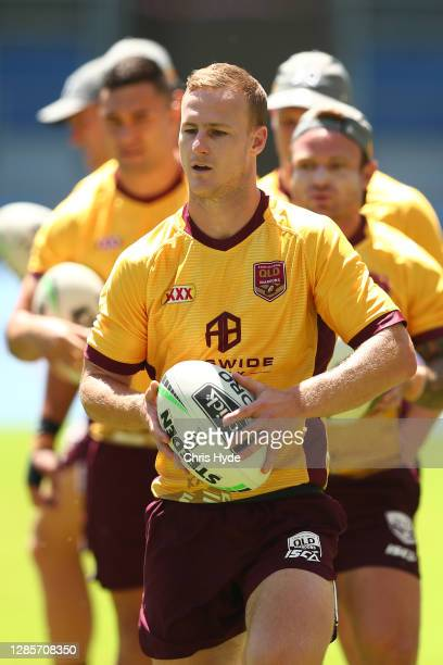 Daly Cherry-Evans passes during a Queensland Maroons state of origin training session at Cbus Super Stadium on November 15, 2020 in Gold Coast,...