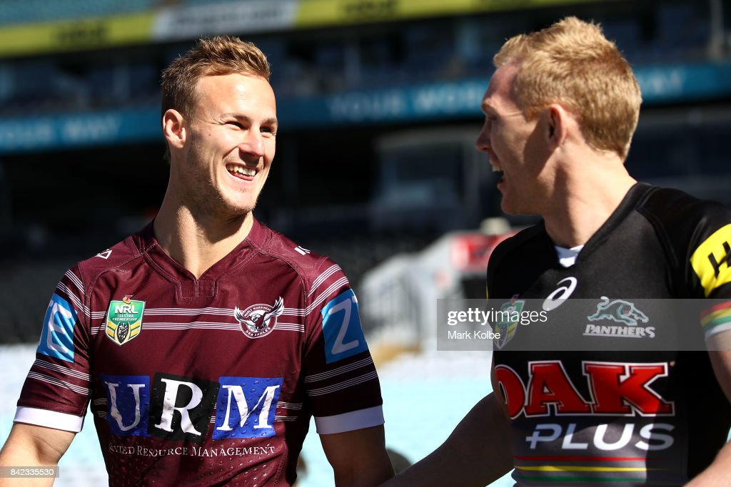 Daly Cherry-Evans see and Peter Wallace of the Panthers share a joke during the 2017 NRL Finals Series Launch at ANZ Stadium on September 4, 2017 in Sydney, Australia.