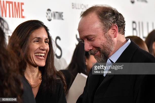 Dalya Bharara and actor Paul Giamatti attend the Showtime series premiere of Billions at The New York Museum Of Modern Art on January 7 2016 in New...