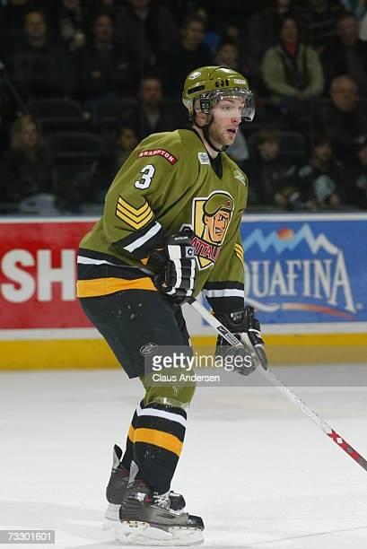 Dalyn Flatt of the Brampton Battalion skates against the London Knights at the John Labatt Centre on February 9, 2007 in London, Ontario, Canada. The...