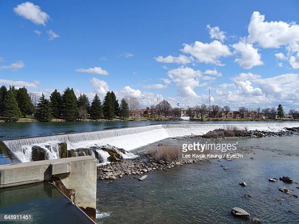 dam against sky - idaho falls stock photos and pictures