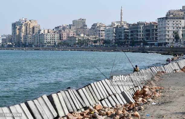 Dam construction on the Corniche in Alexandria on November 23, 2019 in Alexandria, Egypt.