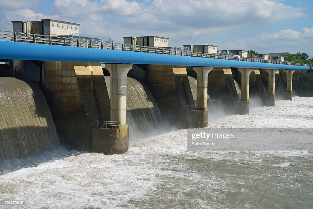 Dam of a Hydroelectric Power Station, Rochemaure : Stock Photo