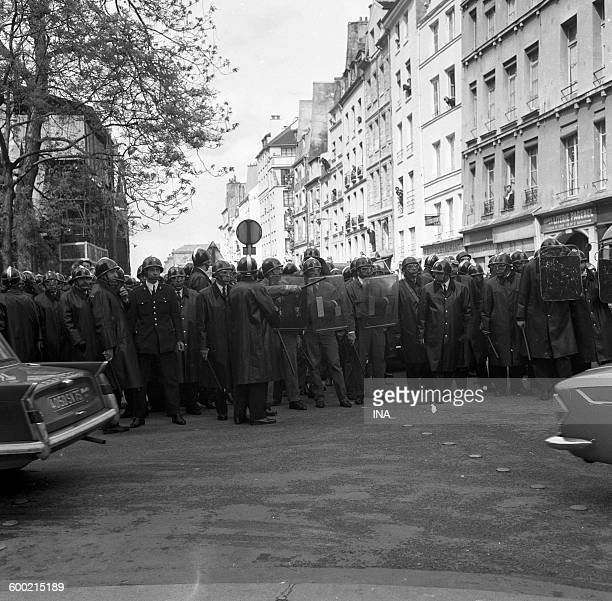 Dam of CRS near the boulevard Saint Germain in Paris during the events of May, 68.