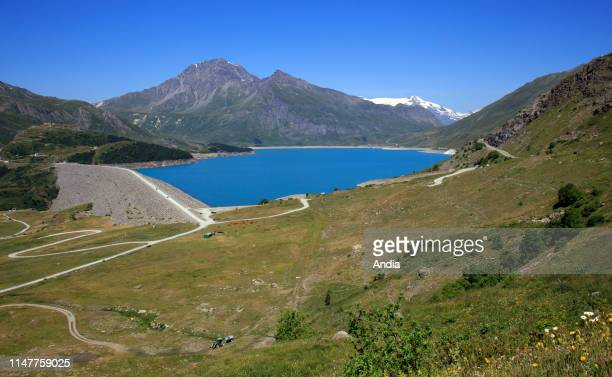 Dam of Lake Mont-Cenis, artificial mountain lake with a gravity structure, in Val-Cenis .