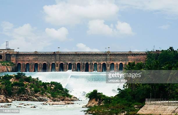 dam on a river, krishna raja sagara, kaveri river, mandya district, mysore, karnataka, india - krishna stock photos and pictures