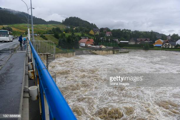 A dam releases water due to the heavy rain falls in the last days Southern Poland and northern Slovakia on flood alert due to extreme rain falls