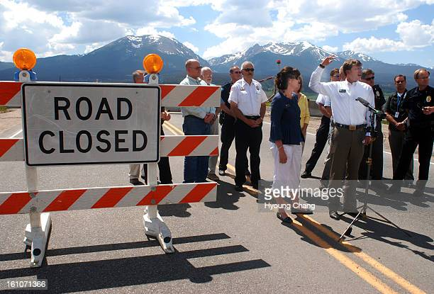 dam Rep Christine Scanlan front left Sen Dan Gibbs front right and officials of Summit County are in the press conference at Dillon Dam Road on...