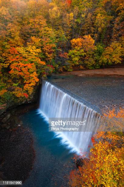 dam with autumn leaves in japan - iwate prefecture stock pictures, royalty-free photos & images