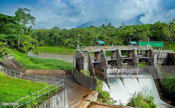 Dam with open floodgates