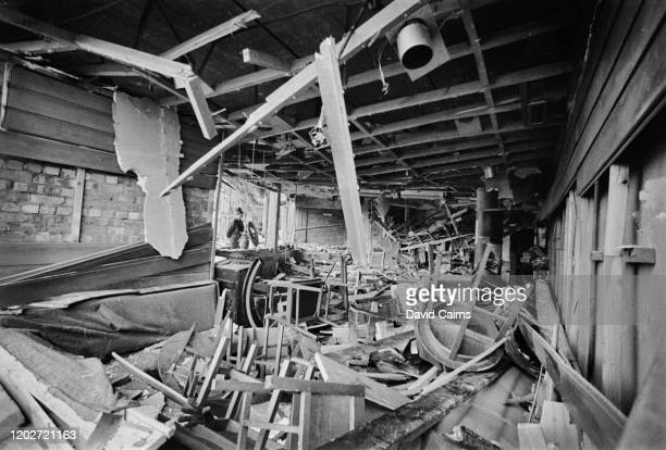 Damage and debris at the Mulberry Bush, location of one of the two pub bombings on 21st November 1974, in Birmingham, West Midlands, England, 23rd...