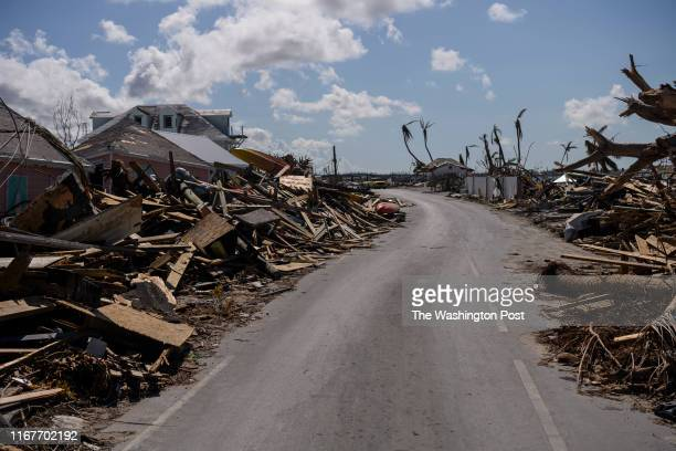 Damage and debris fills Marsh Harbour, Bahamas after Hurricane Dorian on September 9, 2019. Hurricane Dorian made landfall on the island as a...