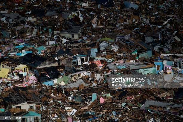 Damage and debris is seen in the Mudd and the Peas neighborhoods of Marsh Harbour, Bahamas after Hurricane Dorian on September 9, 2019. Hurricane...