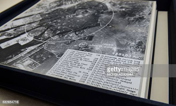 Damage assessment is seen on an aerial picture taken by the US military in the days after the first atomic bomb was dropped on Hiroshima on August 6...