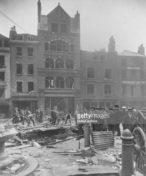 Damage caused by a German Zeppelin air raid in Bartholomew Close, central London.