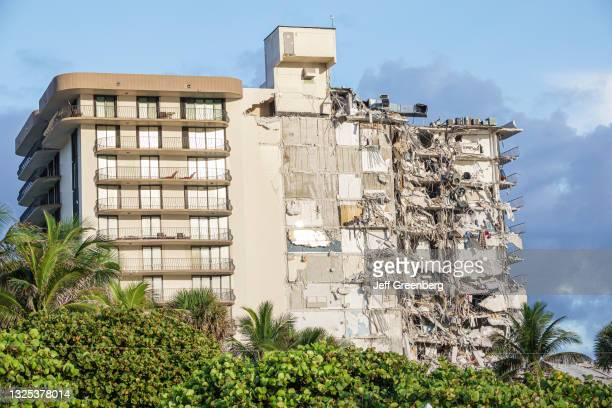 Damage caused by the partial collapse of the Champlain Towers condominium building, Surfside, Miami Beach, Florida.