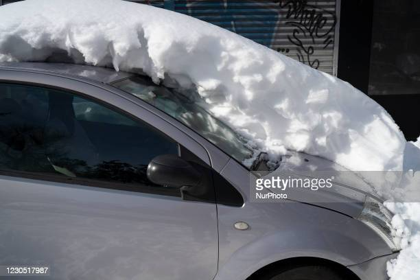 Damage caused by the storm Filomena in Madrid, Spain on 10 January, 2021. Storm Filomena brought more than 50cm of snow to the Spanish capital, the...