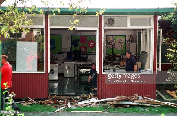 Damage caused to classroom at the Green Hall School in Atherton near Wigan, Lancashire, when a Citroen car driven by a 79 year old man crashed...