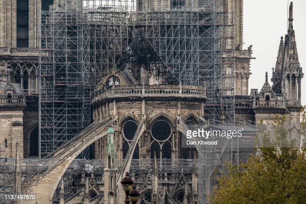 Damage caused to NotreDame Cathedral following a major fire yesterday on April 16 2019 in Paris France A fire broke out on Monday afternoon and...