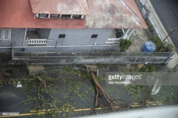 Damage in the Miramar neighborhood is seen from inside the Ciqala hotel as Hurricane Maria bears down September 20 2017 in San Juan Puerto Rico...