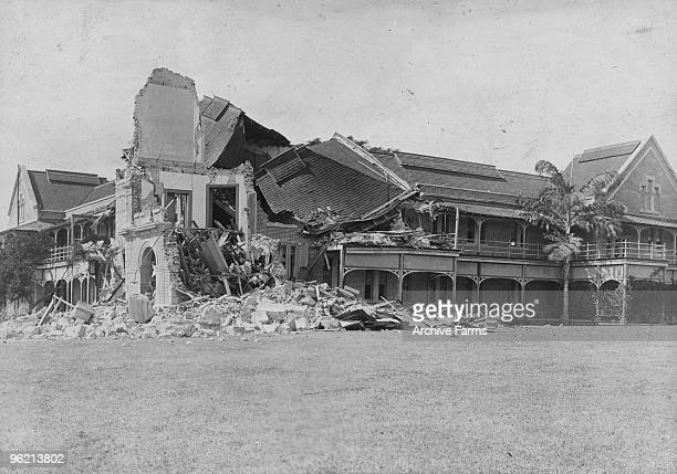 Damage inflicted by the 1907 earthquake on Buxton House main building of Mico College in Kingston the oldest teacher training institution in the...